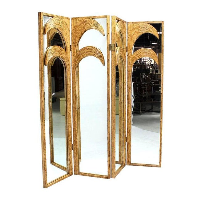 Figural Burnt Bamboo Large Folding Screen Room Divider For Sale In New York - Image 6 of 6