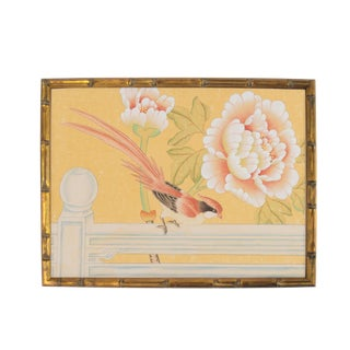 "Chinoiserie ""Pheasant on Fence"" Painting"