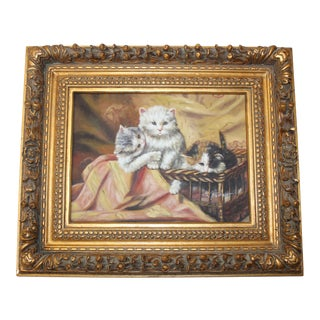 Antique Oil on Canvas Painting of Three Cats Portrait Sign in a Large Frame.