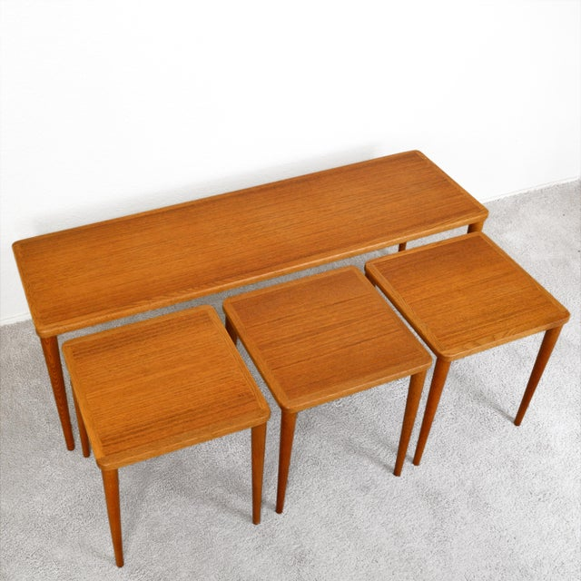 Dux of Sweden 1960s Teak Coffee Table With Three Nesting Tables - 4 Pieces For Sale - Image 12 of 13