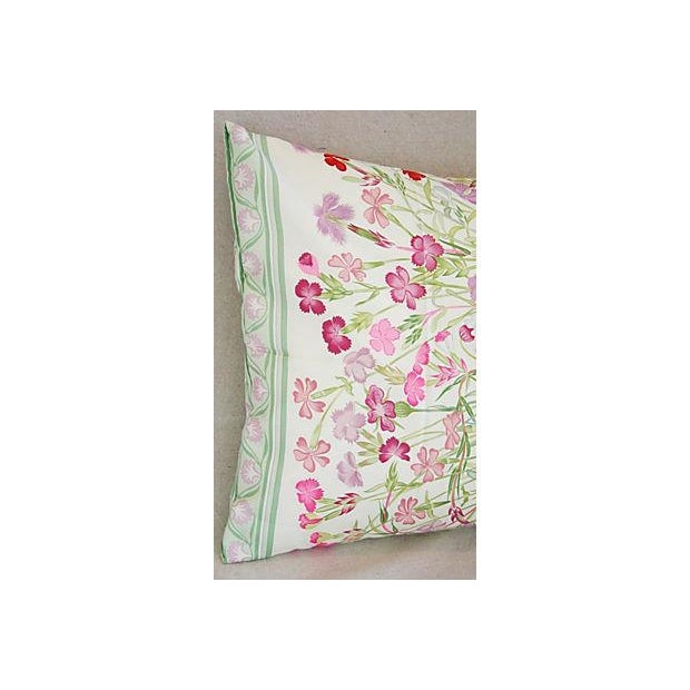 Pink Niki Goulandris Hermes French Floral Silk Pillow For Sale - Image 8 of 8