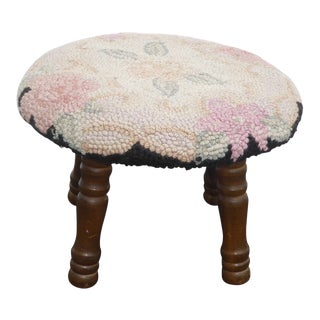 1950s Vintage French Country Round Floral Needlepoint White Footstool For Sale