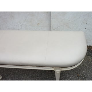 Late 20th Century Vintage Louis XVI Style Painted 'D' Leather Bench Preview