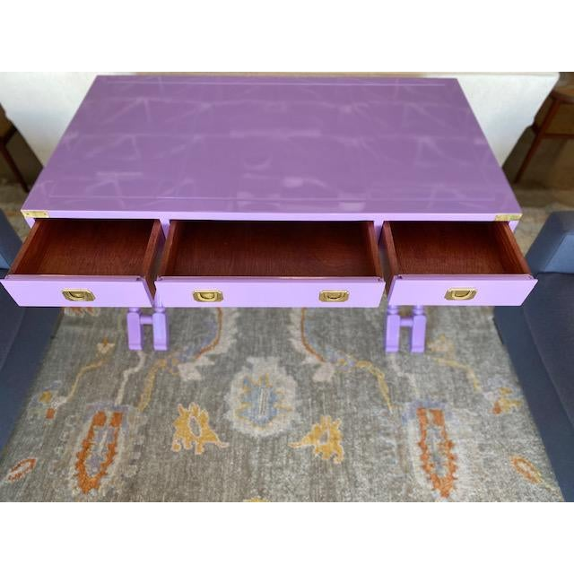 1970s Vintage Campaign Purple Lacquer Writing Desk For Sale - Image 5 of 9