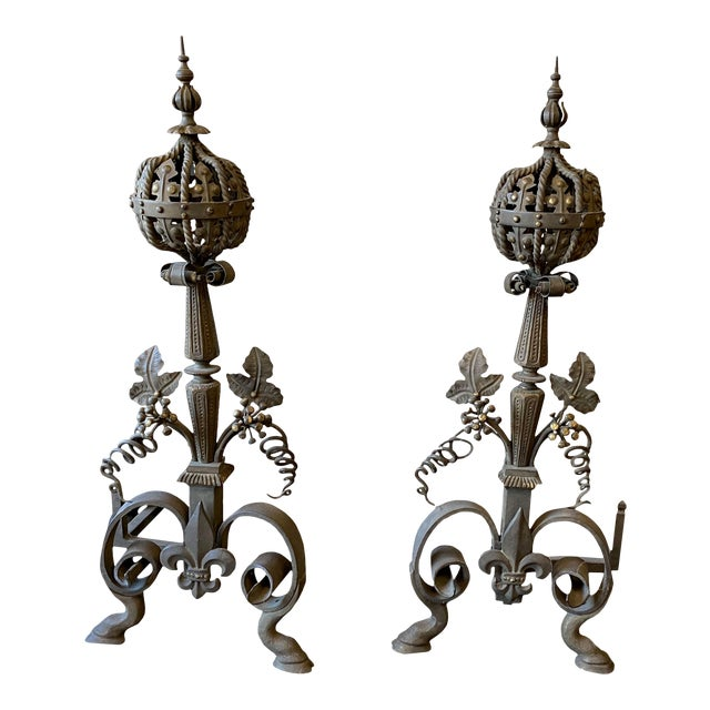 19th Century French Wrought Iron and Bronze Andirons - a Pair For Sale