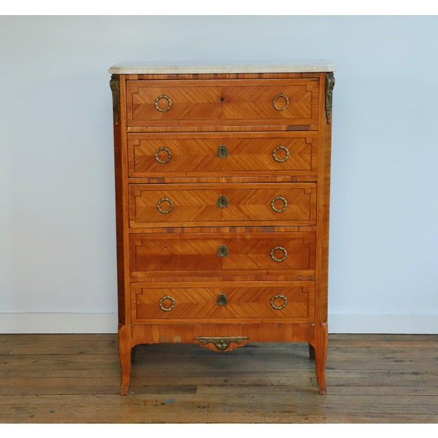 Original 1931 French Satinwood 5-drawer lingerie chest from the Waldorf Towers Suite 36Y, Waldorf Astoria hotel, NYC. The...