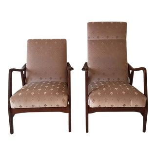 Pair of Massive Teak Organic Shaped Lounge Chairs by Topform, 1950s-1960s