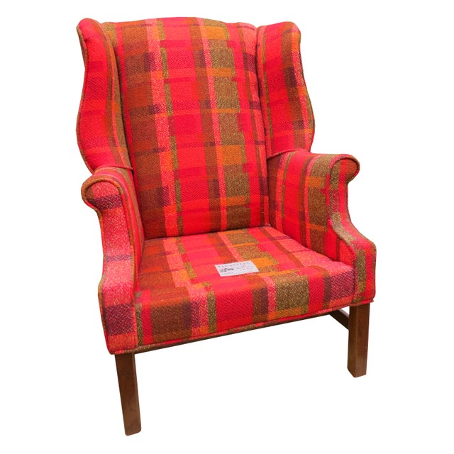 Vintage Mid-Century Flexsteel Georgian Style Wingback Chair For Sale In Chicago - Image 6 of 13