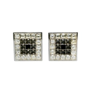 Square Couture Pierced Earrings by Yves Saint Laurent For Sale