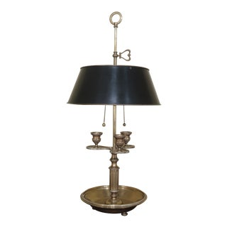 1980s Vintage Chapman Brass Table Lamp With Black Tole Shade For Sale