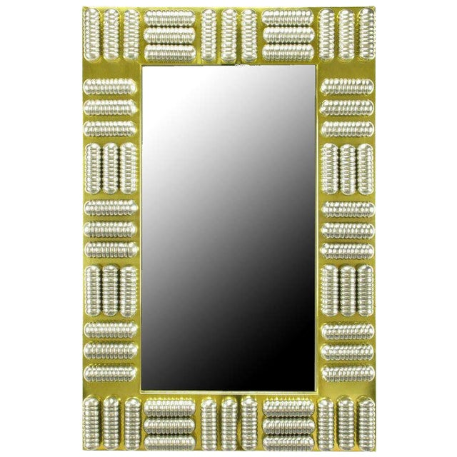 Circa 1970s Brass & Spun Aluminum Custom Wall Mirror in the Manner of C.Jere For Sale