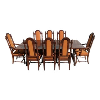 20th Century Gothic Revival Bernhardt Spanish Trestle Dining Set - 9 Pieces For Sale