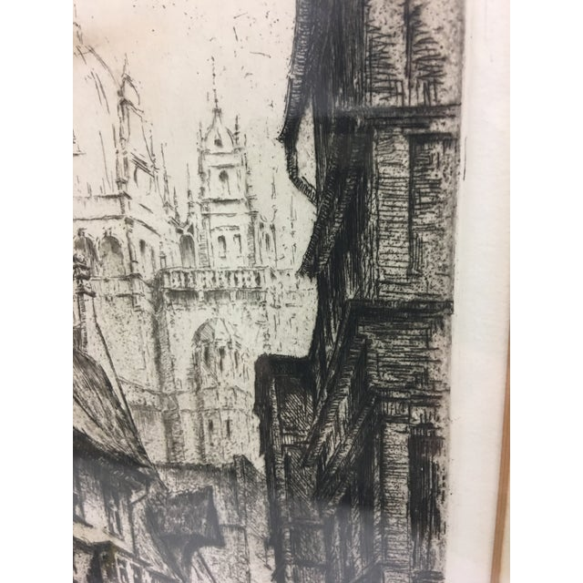 Tan European City Street by Cathedral Etching For Sale - Image 8 of 8