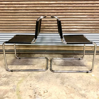 Vintage Mid Century Mart Stam Leather and Chrome Cantilever Chairs- A Pair Preview