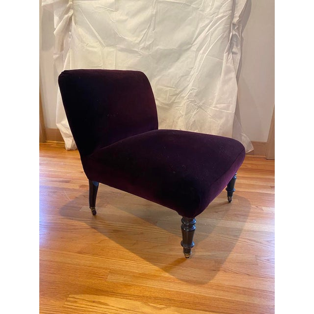 Vintage Velvet Slipper Chairs- a Pair For Sale - Image 4 of 7