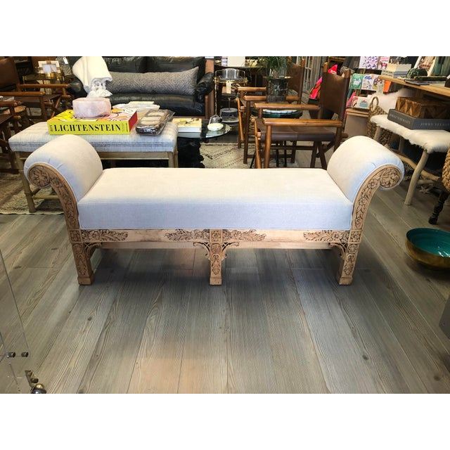 Asian Carved Wood Upholstered Bench For Sale - Image 10 of 10