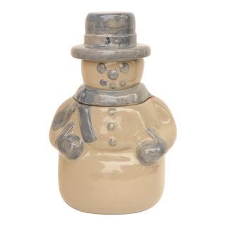 Salt Glazed Stoneware Pottery Snowman Cookie Jar For Sale