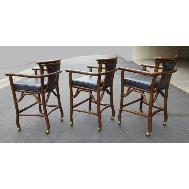 Ritts Co. Mid-Century Bamboo Bar Stools - Set of 3 - Image 4 of 11