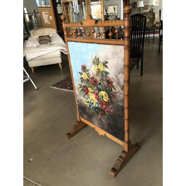Victorian Circa 1880 Summer Fireplace Screen With Floral Painting and Velvet Screen For Sale - Image 4 of 13