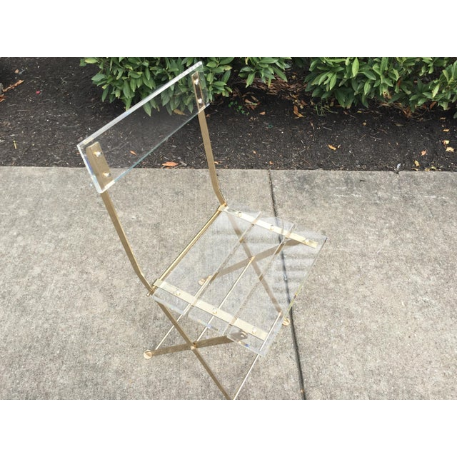 French Vintage French Acrylic Folding Chair With Brass Base, C.1970s For Sale - Image 3 of 11
