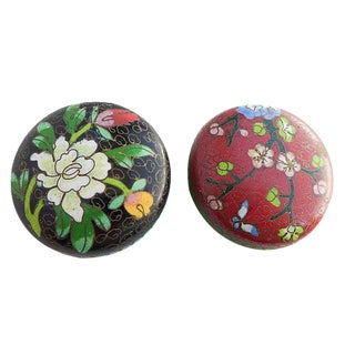 Asian Cloisonné Enamel Pill Boxes - A Pair For Sale