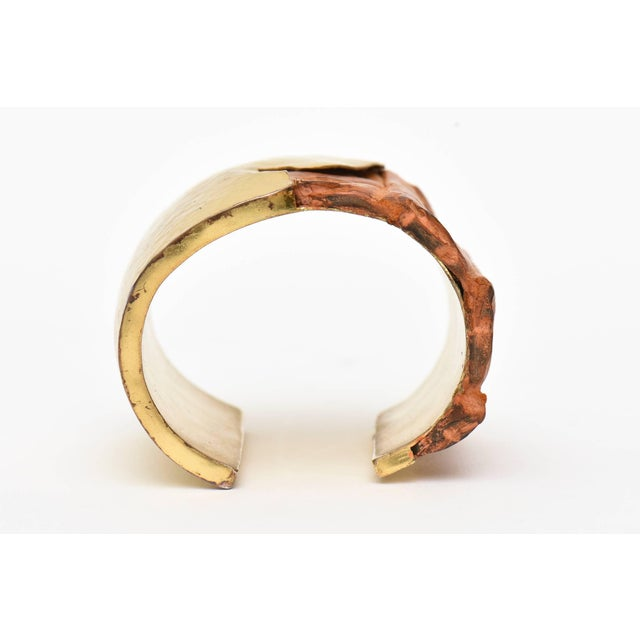 Gold Hammered Brass and Crocodile Leather Cuff Signed Artisan Bracelet For Sale - Image 8 of 10