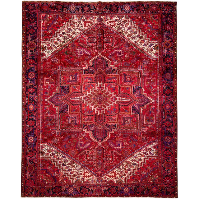 "Vintage Persian Heriz Rug, 10'2"" X 12'10"" For Sale"