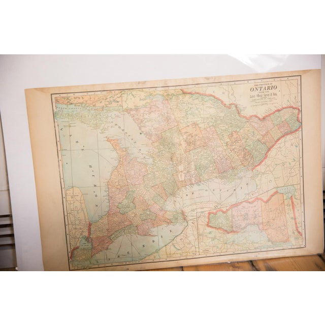 ":: From Cram's Unrivaled Atlas of the World 1907 Edition, a map of Ontario that measures 23.5"" x 14.5"". Page Numbers of..."