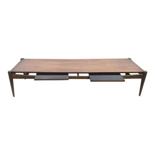 Extra Wide Bassett Mid Century Walnut Coffee Table For Sale