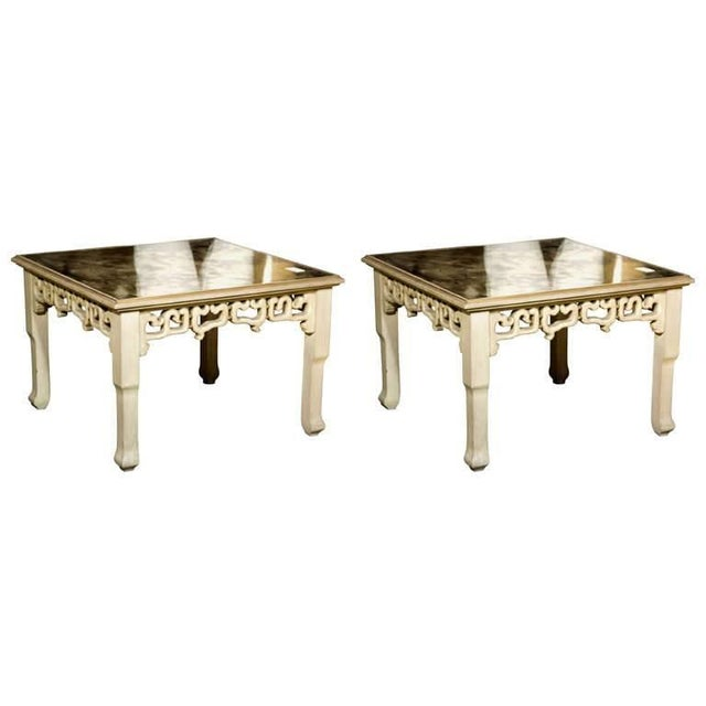 Distressed Mirror Glass Top Squared Asian Style End Tables Stamped Jansen, Pair For Sale - Image 13 of 13