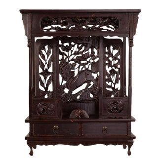 Antique Chinese Open Carved Buddha Shrine Cabinet For Sale