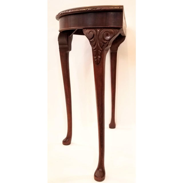 Wood English Edwardian Flame Mahogany Topped Georgian Style Demi-Lune Console Table For Sale - Image 7 of 9