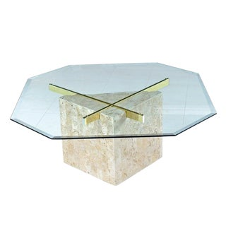 Maitland-Smith Style Brass & Glass Tessellated Stone Pedestal Coffee Table For Sale