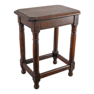 Antique English Beveled Tiger Oak Joint Stool Side Table For Sale