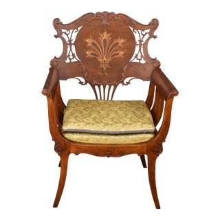 Antique Mahogany Marquetry Pearl Inlay Accent Chair For Sale