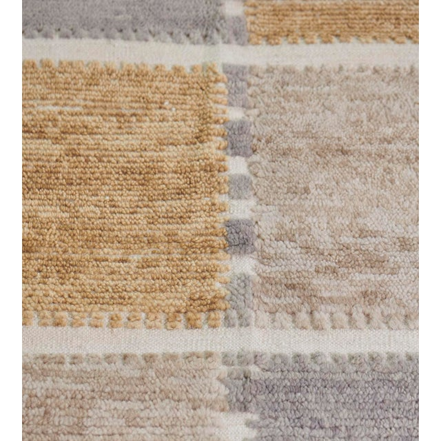 MANSOUR Handwoven Swedish Inspired Flatweave Wool Rug For Sale - Image 4 of 8