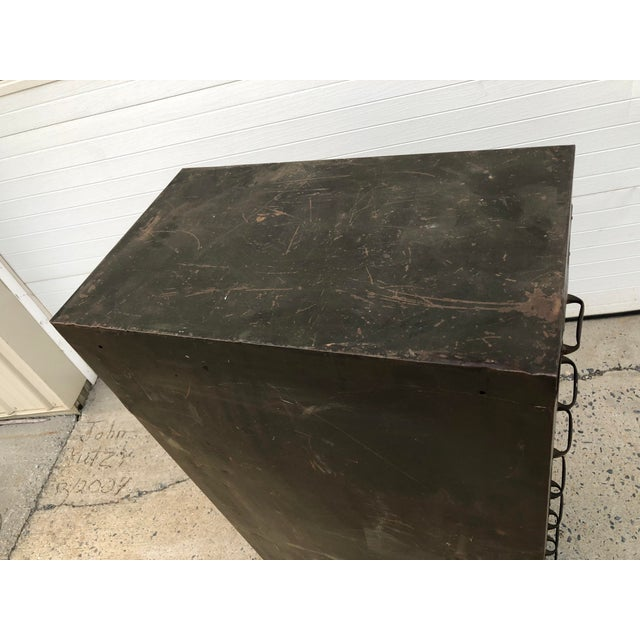 VINTAGE INDUSTRIAL FILING CABINET. Heavy machine age steel with original drab green paint. Likely military issue. Made by...
