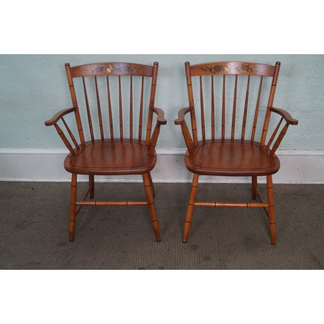 Hitchcock Solid Maple Stenciled Arm Chairs - A Pair - Image 2 of 10