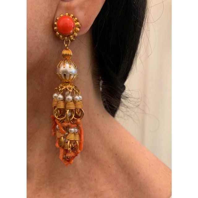 Vintage Pearl and Coral Chandelier Statement Earrings For Sale - Image 4 of 13