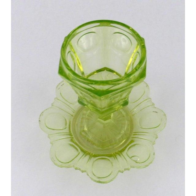 Art Nouveau Antique Imperial Russian Uranium Glass Goblet and Saucer For Sale - Image 3 of 12