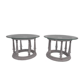 Pair of French Provincial Carved Side Tables Vintage French Oak Carved Glass Top Cocktail Tables For Sale