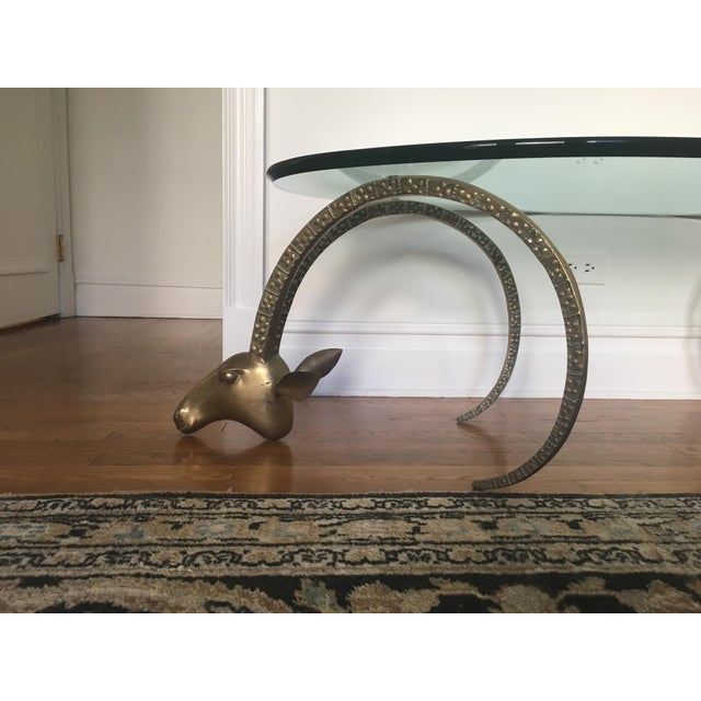 Hollywood Regency Brass Ibex Heads Mid-Century Coffee Table For Sale - Image 3 of 6