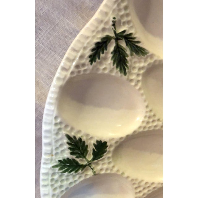 Cottage 1960s Cottage White Ceramic Egg Plate For Sale - Image 3 of 6