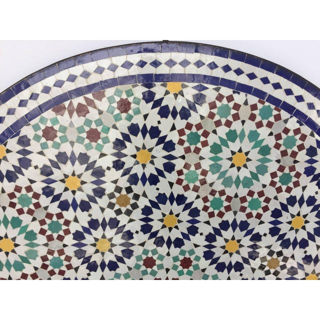 Black Moroccan Round Mosaic Outdoor Tile Table in Fez Moorish Design For Sale - Image 8 of 10