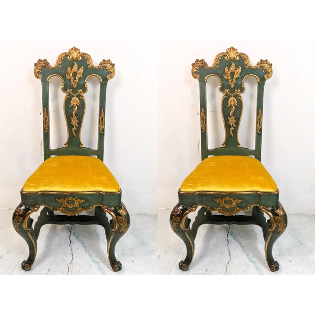 19th C. Venetian Carved & Gilded Chairs - a Pair - Image 2 of 6