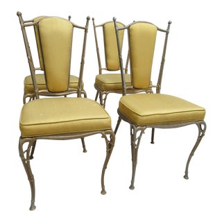 Vintage French Regency Aluminium Dining Room Side Chairs - Set of 4