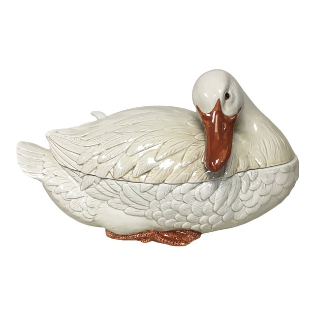 Vintage Fitz & Floyd Goose Tureen W/Lid and Ladle For Sale