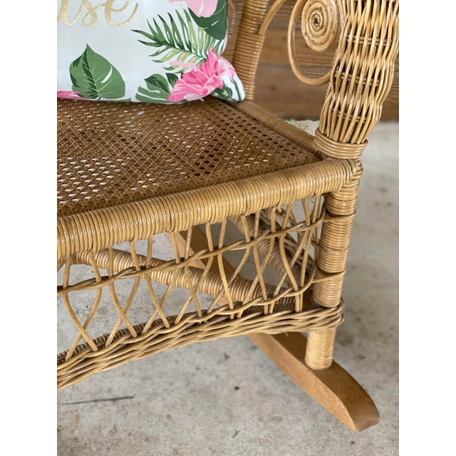 1980's Vintage Fiddlehead Wicker Rocking Chair For Sale - Image 6 of 12