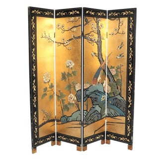 1980s Chinoiserie Brass Lacquer Room Divider Screen For Sale