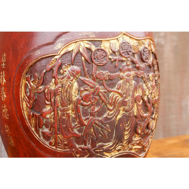 Asian Shou Lao Carved Barrel Container on a Stand For Sale - Image 3 of 11